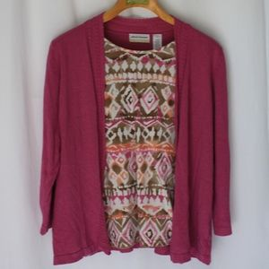 Alfred Dunner pink cardigan blouse plus sz 1X